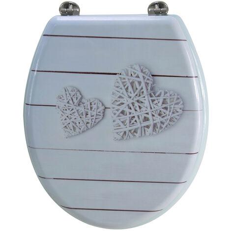 Abattant de toilette en bois compressé MDF charnieres inox WC standard