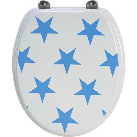 Abattant de toilette en bois compressé MDF Etoiles Bleues Siege WC standard