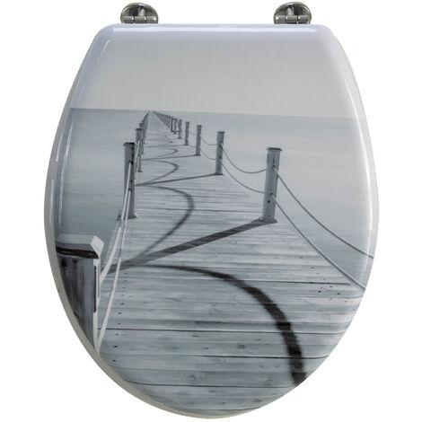 Abattant de toilette en bois compressé MDF Ponton mer Siege WC standard