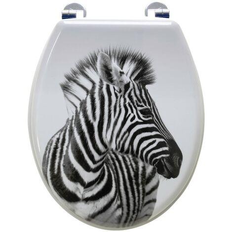 Abattant de toilette en Bois compressé MDF ZEBRE Charnière métal Siege WC Standard