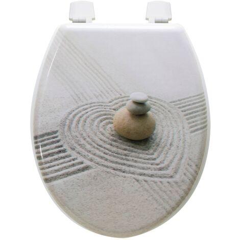 Abattant de toilette galets sable en Bois compressé MDF Siege WC Standard