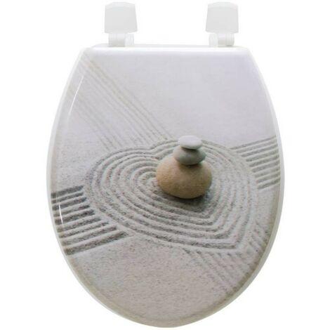 Abattant de toilette galets sable en Bois compressé MDF Siege WC Standard charnieres inox