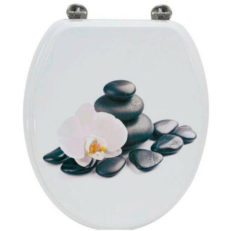 Abattant de Toilette Orchidee en bois compresse MDF Charniere metal Siege WC Standard