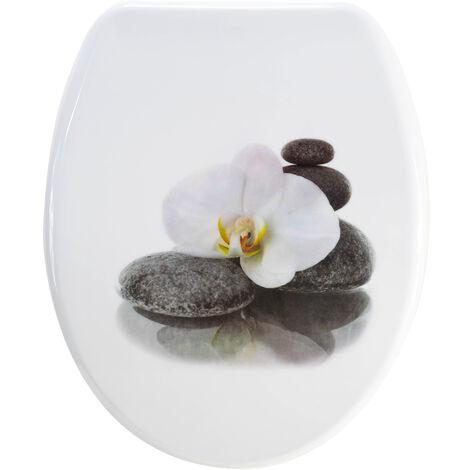 Abattant de toilette plastique thermodur wc universel orchidee galets noirs