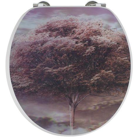 Abattant - Lunette WC 4 saisons 3D en bois compressé, Dim : Largeur 37,5 x longueur 44 cm