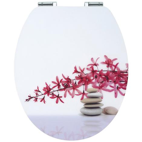 Abattant - Lunette WC Blanc motif DIPLOMAT ZEN en bois compressé, Dim : 48,5 x 39 x 8 cm -PEGANE-