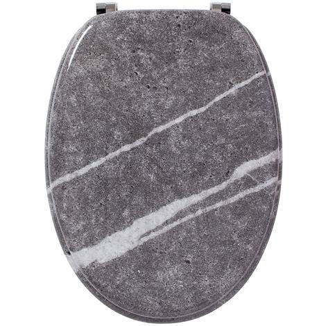 Abattant - Lunette WC effet marbre en bois, Dim : Largeur 37,5 x longueur 44 cm