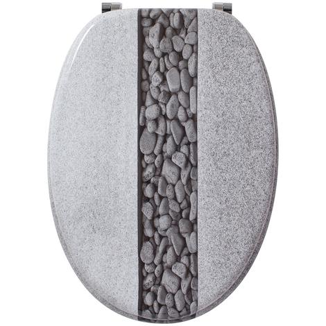 Abattant - Lunette WC pierre en bois, Dim : Largeur 37,5 x longueur 44 cm