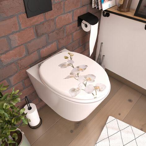 Abattant pour WC à motif sur 3 faces - en MDF et charnières en métal réglables - ORCHID - Blanc
