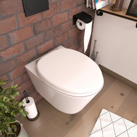 Abattant pour WC blanc - en MDF avec charnières métal réglables - MOON - Blanc