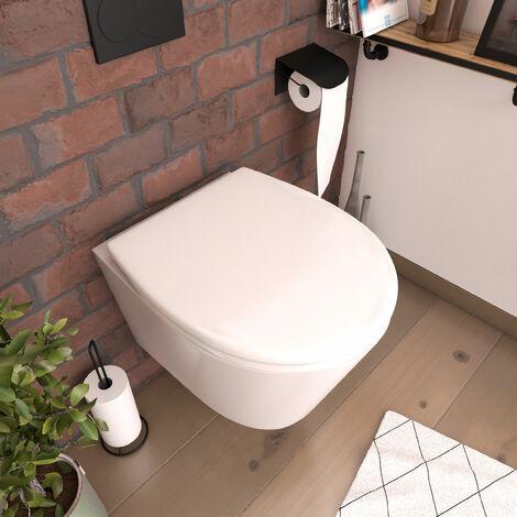 Abattant pour WC blanc - Thermodur avec charnières en plastique déclipsable - SIMPLE WHITE - Blanc