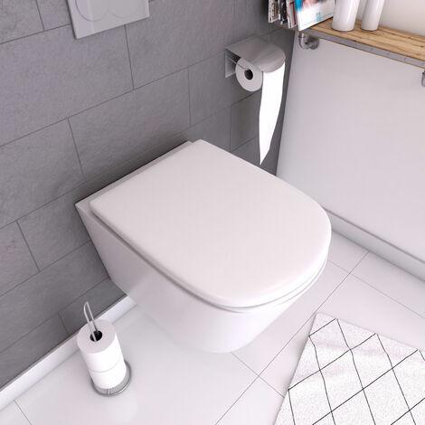 Abattant pour WC blanc - Thermodur et charnières en métal frein de chute - SWEETNESS - Blanc