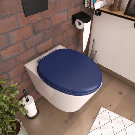 Abattant pour WC BLEU - en MDF et charnières en métal - BLUE - Bleu