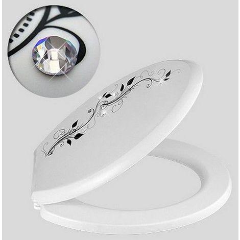 Abattant toilette WC décoratif cristal blanc noir serie VENUS 480 x 360 mm fixations réglables de 75 à 206 mm fixations en plastiques / Couleur: Blanc et noir / Référence: 52924