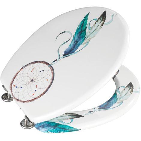 Abattant WC Attrape-rêves - MDF - Blanc et bleu - Blanc