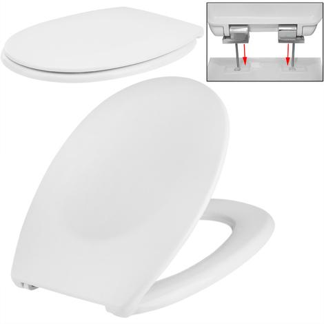 Abattant WC avec abaissement automatique double Lunette WC Siège de toilette frein de chute Blanc