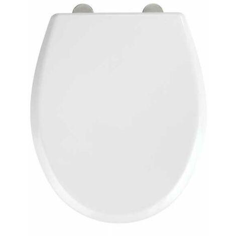"main image of ""Abattant WC avec frein de chute ""easy close"", fixation inox 'fix clip"", Blanc, Duroplastique, Gubbio"""
