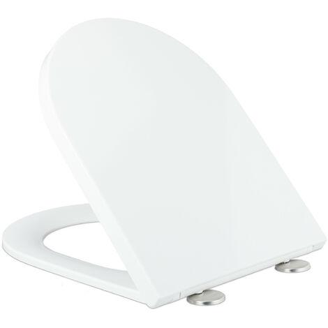 Abattant WC avec frein de chute, siège forme D amovible, lunette en Duroplast, LxP: 36 x 45 cm, blanc