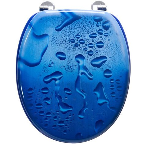 Abattant WC de toilette Standard en bois MDF avec charnières Inox Déco bleu