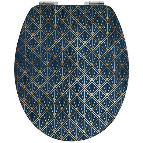 Abattant wc diplomat déco bleu - Dim : 37 X 48 cm -PEGANE-