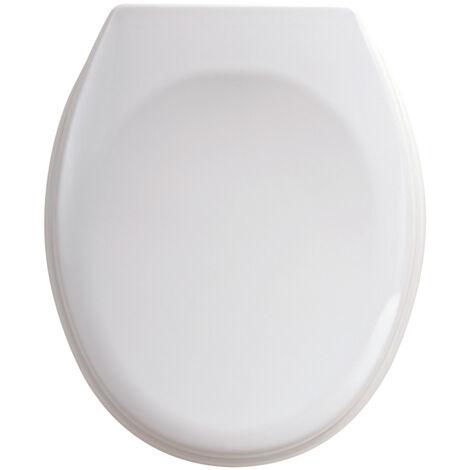 Abattant WC double - résine thermodur à charnière Inox - blanc
