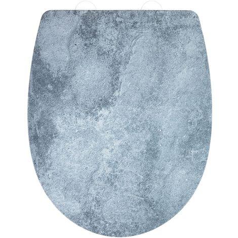 Abattant WC effet marbre Cement - Abaissement automatique - Thermoplast - Gris