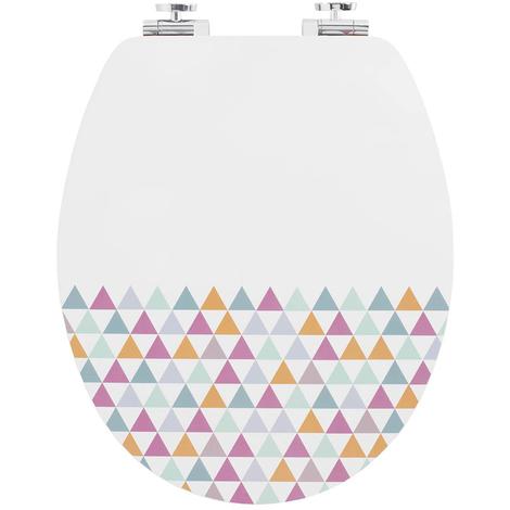 Abattant WC en bois coloris blanc et multicolore - Dim : 43 x 37 x 6 cm - PEGANE -