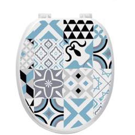 Abattant WC en bois coloris blanc motif bleu - Dim : L38 x P47.5 x H5.5 cm-PEGANE-