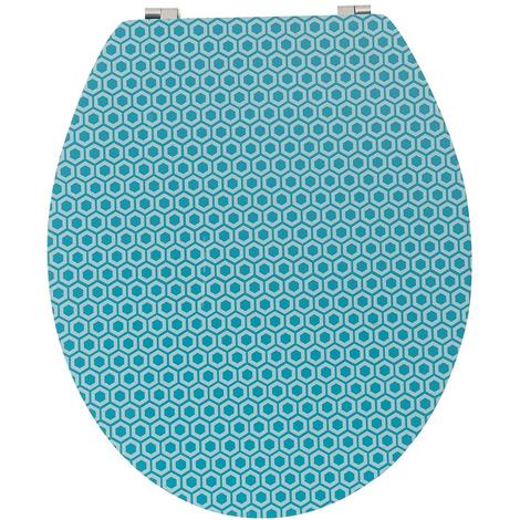 Abattant WC en bois compressé coloris bleu et bambou - Dim : 43 x 37 x 6 cm - PEGANE -