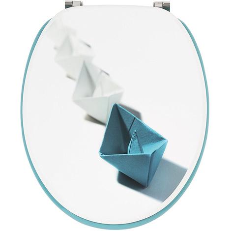 Abattant WC en bois compressé coloris bleu et blanc - Dim : 43,5 x 37,5 x 6 cm - PEGANE -