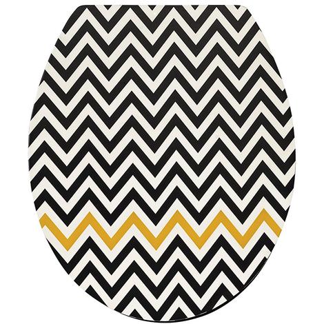 Abattant WC en bois compressé coloris noir et jaune - Dim : 43 x 37 x 6 cm - PEGANE -