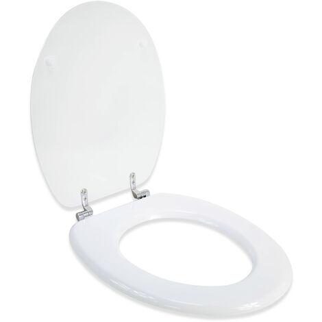 Abattant WC en Bois compresse HDF Blanc Charnieres inox Siege de toilette Universel