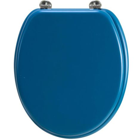 Abattant wc en bois compresse HDF Bleu Charnieres metal Siege de toilette universel