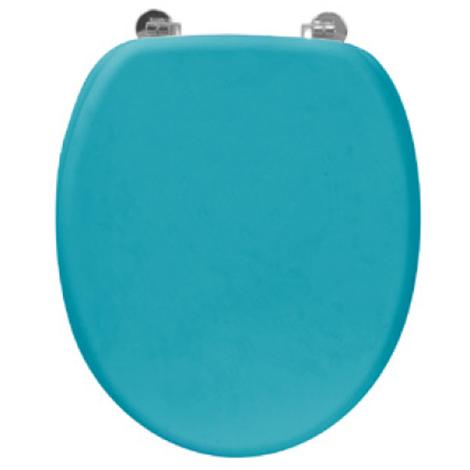 Abattant WC en bois rubber bleu D : 37.8 x 43.8 cm