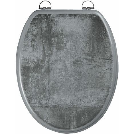 Abattant WC - en MDF avec charnières en inox réglables - CIMENT - Gris