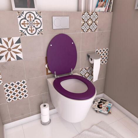 Abattant WC - en MDF avec charnières en métal réglables - WHISY PURPLE - Violet