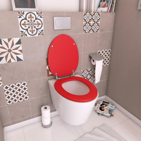 Abattant WC - en MDF avec charnières en métal réglables - WHISY RED - Rouge