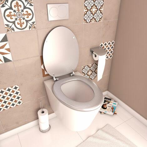 Abattant WC - en MDF avec charnières en métal réglables - WHISY SILVER - Argent