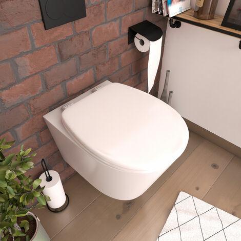 Abattant WC - en MDF avec charnières en plastique - Neptune BLANC - Blanc
