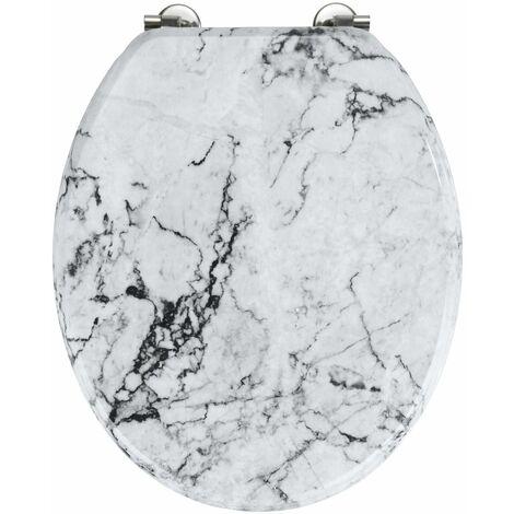 Abattant WC en MDF design marbre Onyx - Blanc - Blanc