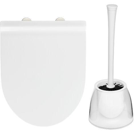 """main image of """"Abattant WC Exclusif No. 6, abattant WC adapté à Duravit Durastyle Basic et à la céramique standard, avec frein de chute, fixation Fix-Clip, Duroplast, blanc, brosse WC inclue"""""""