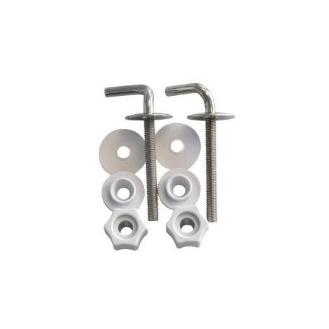 Abattant WC Fixation I Set I Charnières I en acier inoxydable - Métal Plastique I, 65061 8