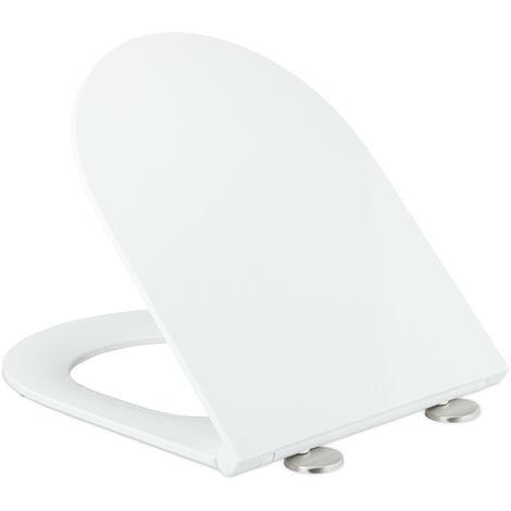 Abattant WC frein de chute, L x P : 36 x 44 cm, forme D, siège toilette résine thermodurcissable, blanc
