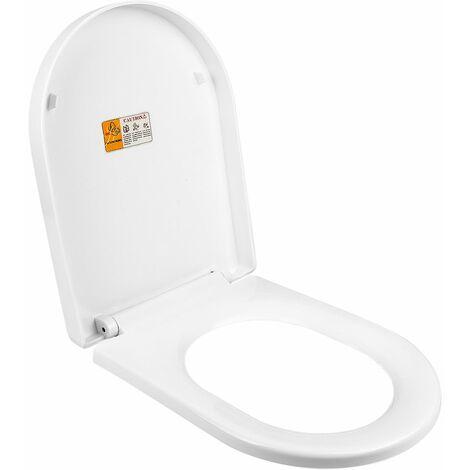 Abattant WC Frein de Chute Lunette de Toilette en Forme de U Siège de Toilette Dégagement Rapide à Un Bouton Charnière Réglable - Blanc