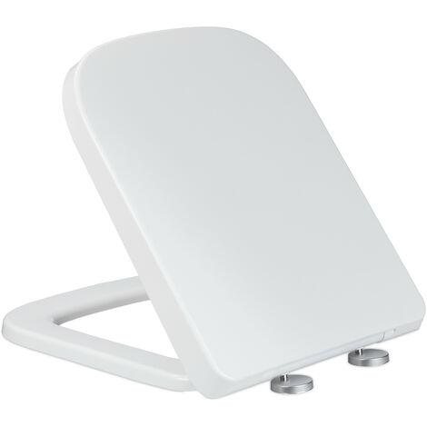 Abattant WC frein de chute, lxP: 35 x 43 cm, siège amovible, rectangle, résine thermodurcissable, blanc