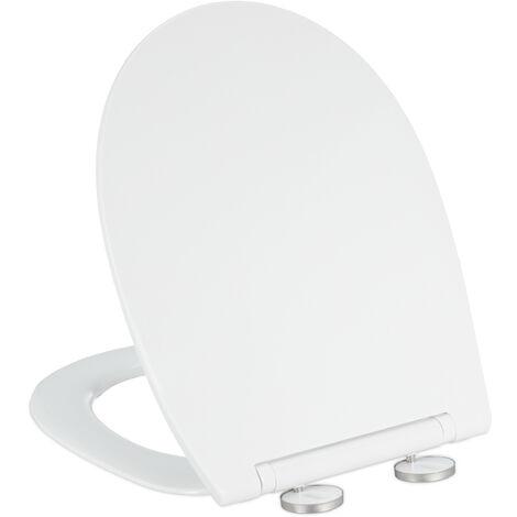 Abattant WC frein de chute, lxP : 36 x 44,5 cm, siège amovible, ovale, résine thermodurcissable, blanc