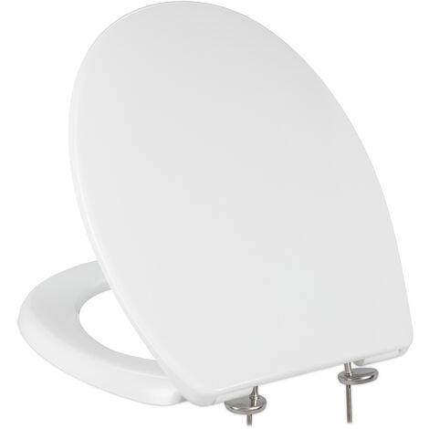 Abattant WC frein de chute, lxP: 37 x 44 cm, siège amovible, ovale, résine thermodurcissable, blanc