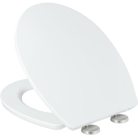 Abattant WC frein de chute, lxP: 38 x 44 cm, siège amovible, ovale, résine thermodurcissable, blanc