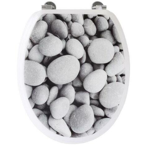 Abattant WC galets de plage - Gris Gelco