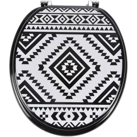 Abattant wc imprimé ethnique N&B noir et blanc